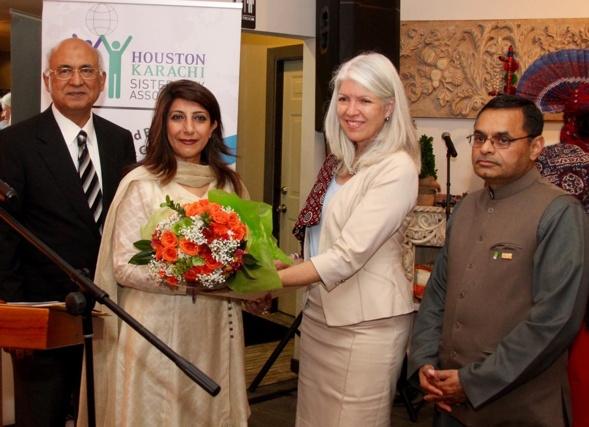 (L-R) M.J. Khan, Consul General Aisha Farooqui, Houston City Council Member Carla Cisneros, and Muhammad Saaed Sheikh.