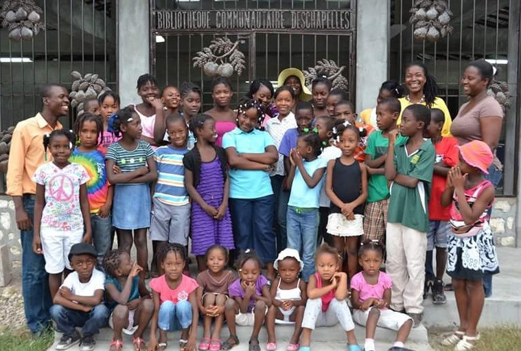 Students at the Essex-Haiti Library - A Sister City Program Exchange