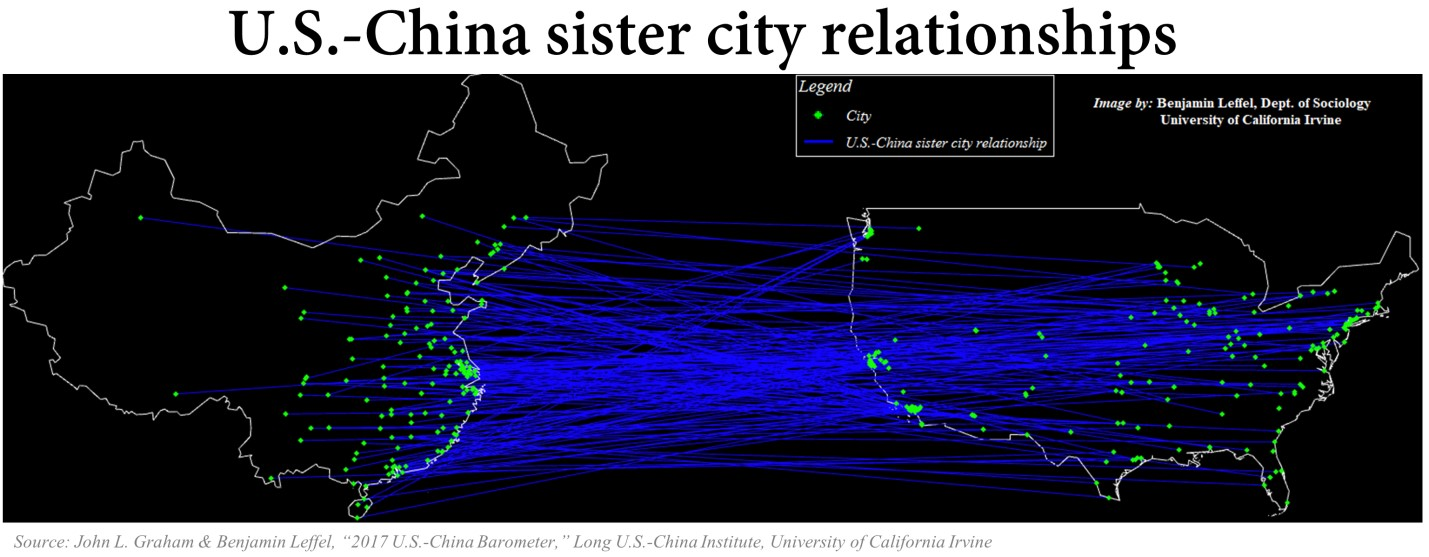 Graphic detailing US-China sister city relationships on a map of the two countries