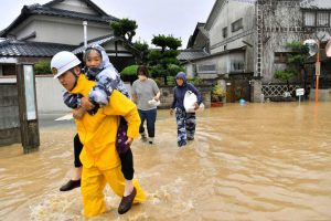 First Responders Rescuing Victims of Flooding in Japan