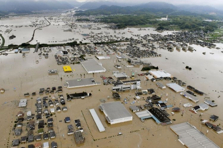 Birds Eye View of Japan Flooding