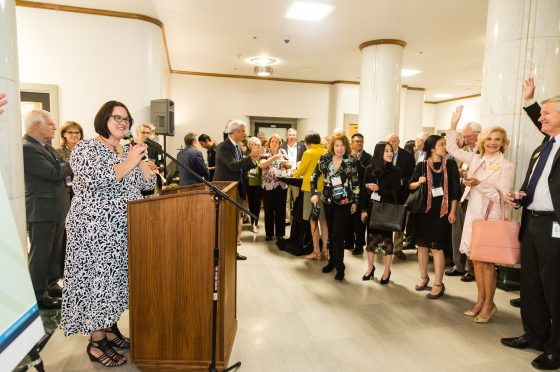 Karlyn Shorb Addresses Attendees of the Global Leaders Circle Reception