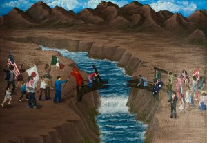 Young Artists and Authors Showcase entry depicting people working together to build a bridge over a river