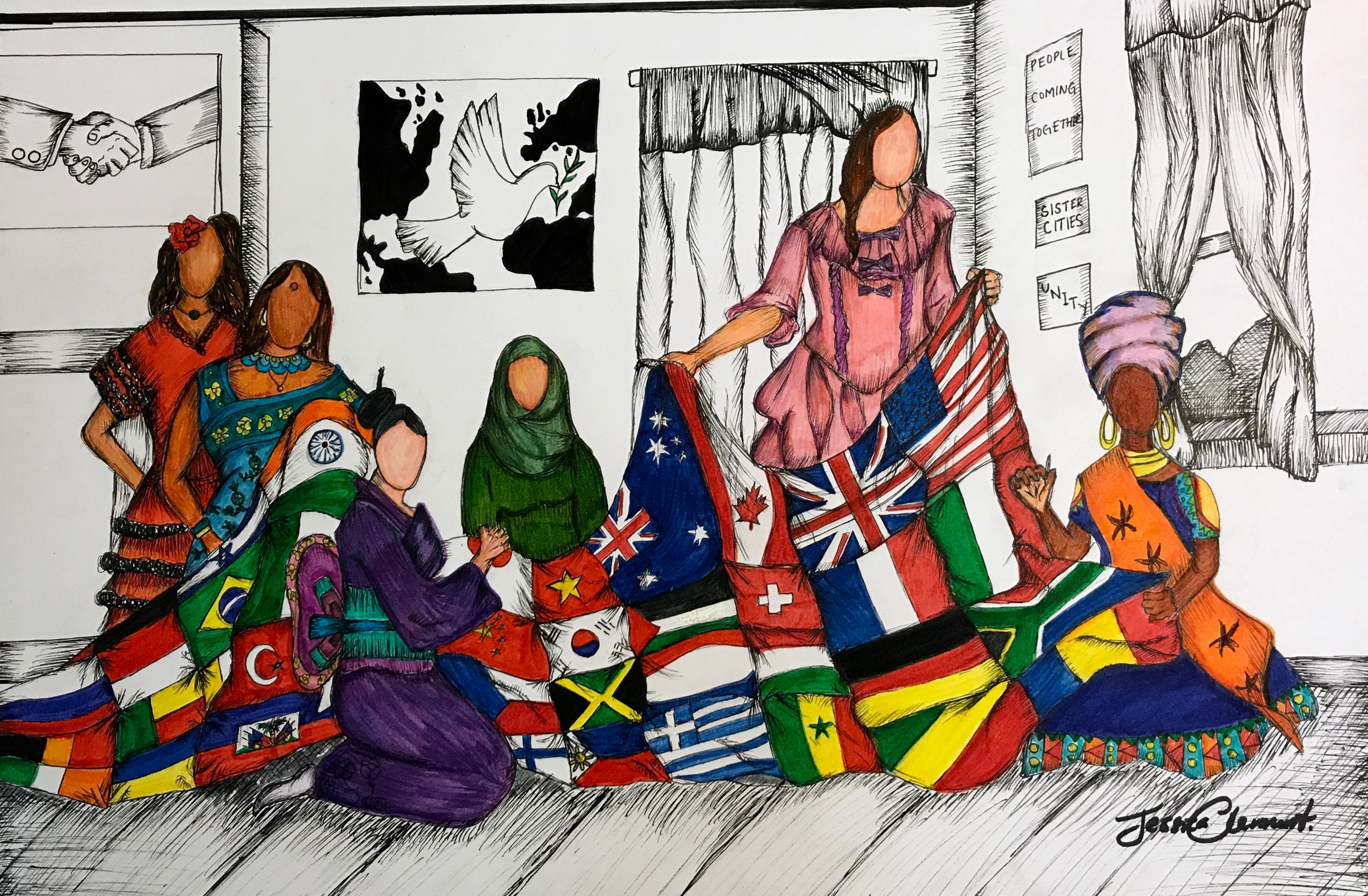 Young Artists and Authors Showcase submission showing six women in cultural attire knitting a blanket of different country flags